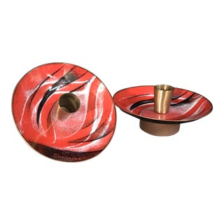 1960s Mid-Century Modern Abstract Copper on Enamel Candlesticks - a Pair For Sale