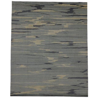 Contemporary Abstract Area Rug With Coastal Colors - 8′ × 9′11″ For Sale