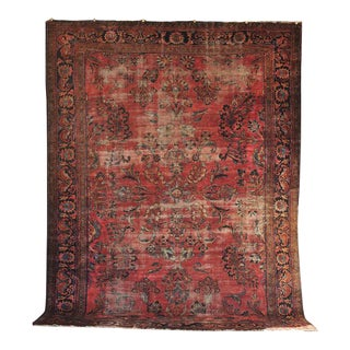 Hand-Knotted Antique Persian Lilihan Sarouk Rug - 9' x 12'