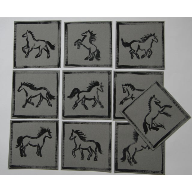Watercolor Minimalist Horse Paintings Set of 9 by Cleo Plowden For Sale - Image 7 of 8