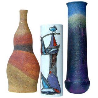 Circa 1950 Mid-Century Modern Marcello Fantoni Ceramic Vases - Set of 3 For Sale