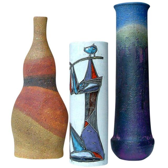 Circa 1950 Mid-Century Modern Marcello Fantoni Ceramic Vases - Set of 3 For Sale