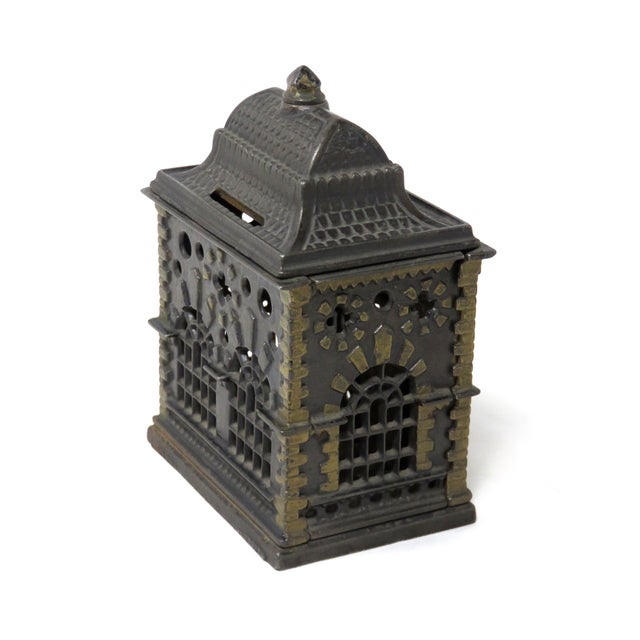 Traditional 1880s Antique Cast Iron Coin Bank For Sale - Image 3 of 7