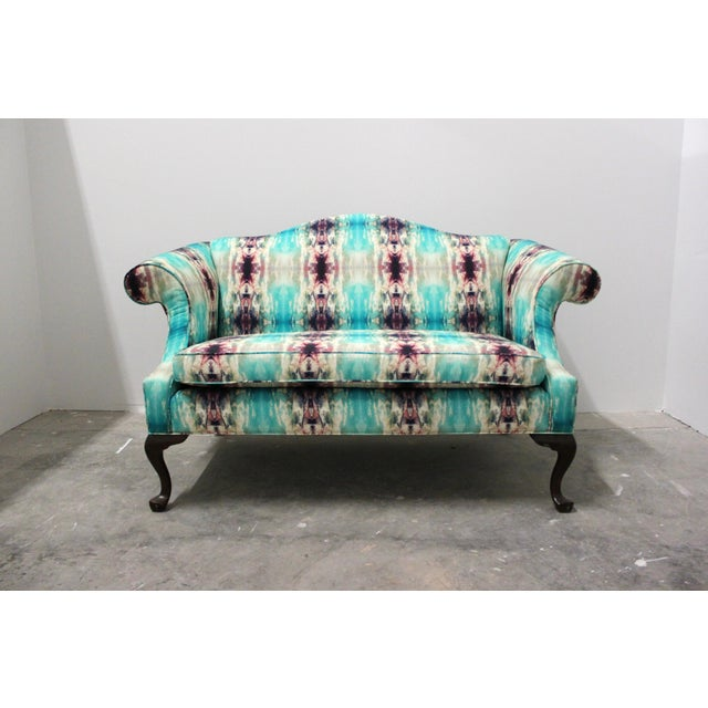 This camelback style vintage Lane loveseat that will make any seating area, office, or bedroom pop. Completely rebuilt...