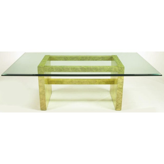 Contemporary Henredon Circa 75 Glass & Marbleized Base Dining Table For Sale - Image 3 of 8