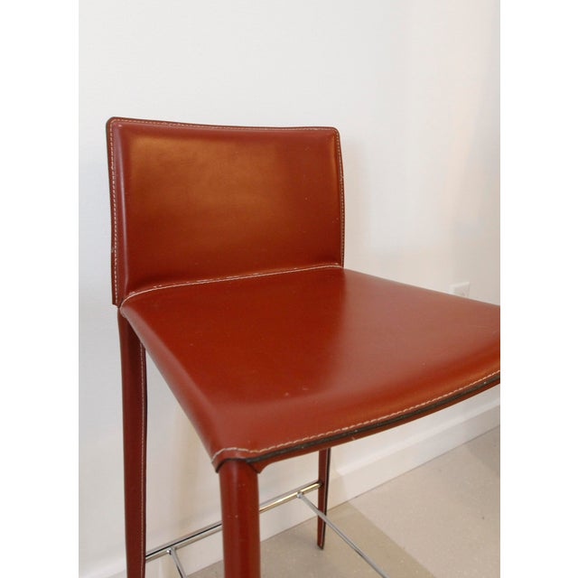 Italian Red Leather Barstools- a Pair - Image 4 of 7