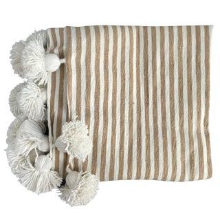 Beige & White Pompom Throw For Sale