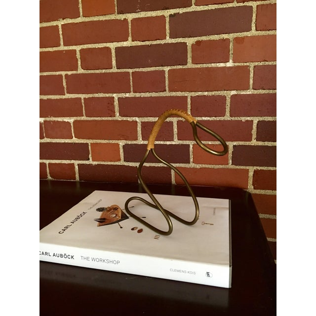 Mid-Century Modern Carl Auböck Bottle Holder Wrapped in Original Caning, 1950's For Sale - Image 3 of 6