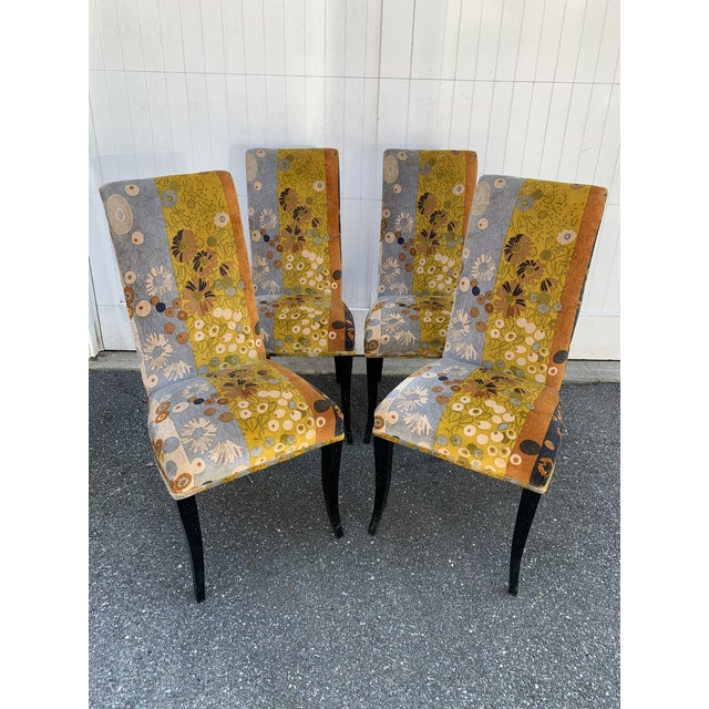 Jack Lenor Larsen Velvet Dining Chairs - Set of 4 For Sale - Image 12 of 12