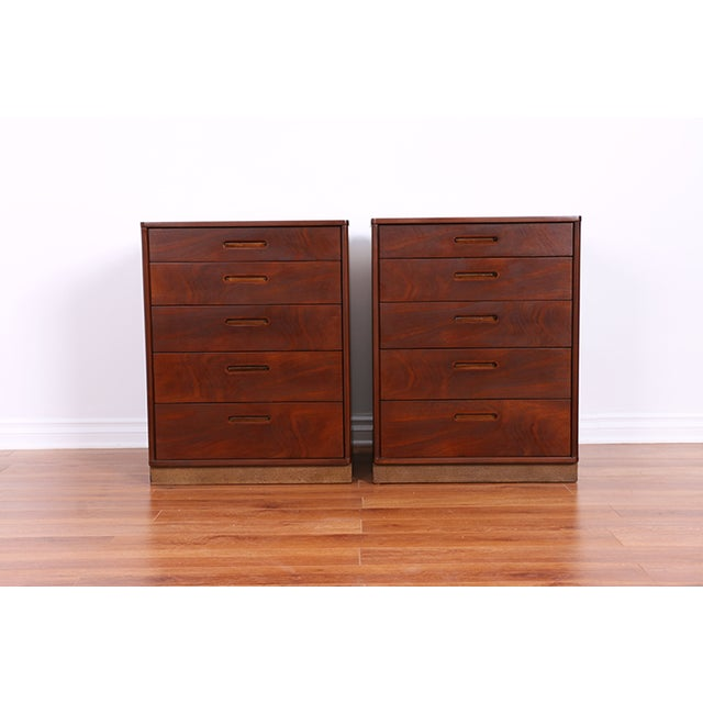 Mid Century Walnut Chests for Dunbar - Pair - Image 2 of 6