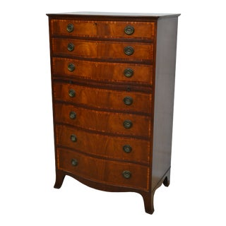 1940's Baker Mahogany Banded Chippendale Chest of Drawers For Sale