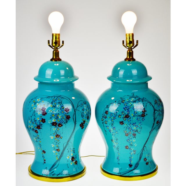 Vintage Large Scale Aquamarine Blue Hand Painted Asian Ginger Jar Lamps - A Pair For Sale - Image 11 of 11