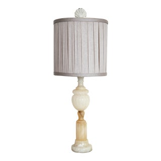 Alabaster Table Lamp W/ Silver Shade For Sale