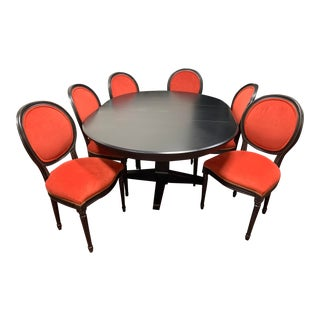Vintage Antique Style Ethan Allen Dining Table & Louis XVI Style Chairs For Sale