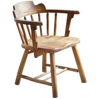 Antique Oak Barrel Chair For Sale