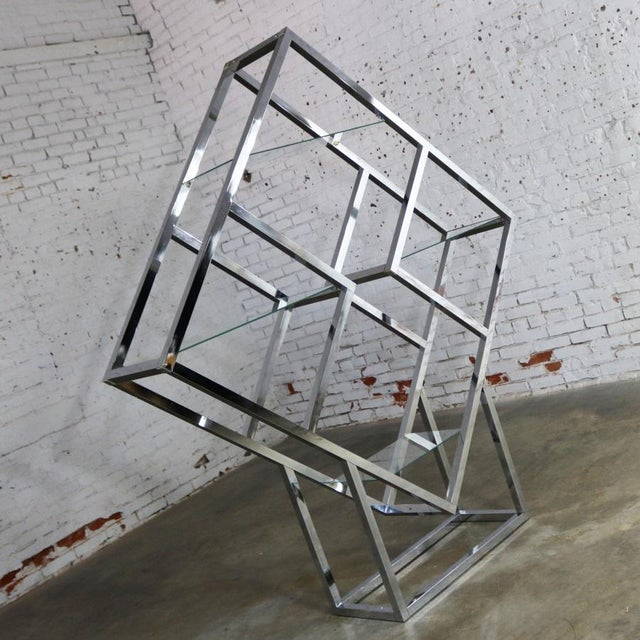 Modernist Geometric Diamond Shaped Chrome Étagère Attributed to Milo Baughman For Sale - Image 6 of 11