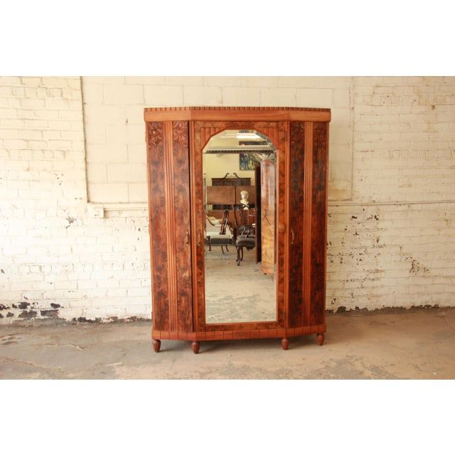 Art Deco Vintage French Art Deco Burl Wood Mirrored Front Knockdown Wardrobe For Sale - Image 3 of 11