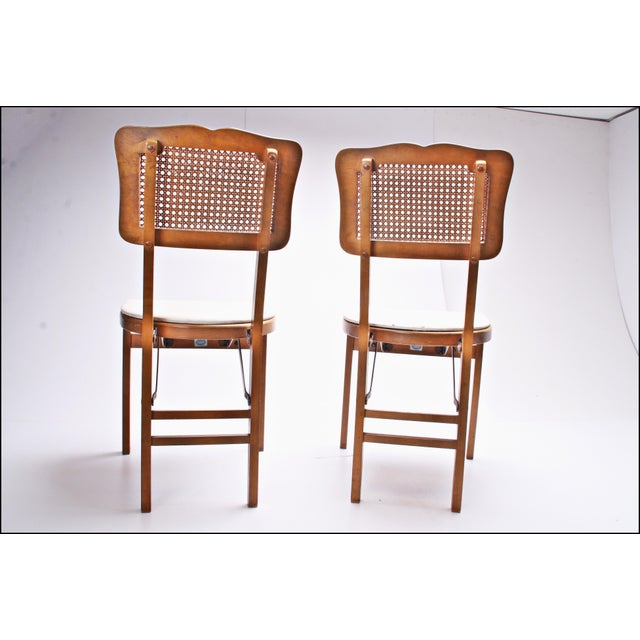 Mid Century Modern Stakmore White Vinyl Wood Folding Chairs - A Pair For Sale - Image 5 of 11