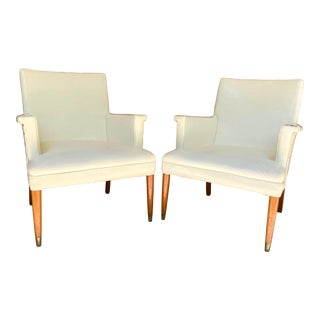 Vintage Pair of Pleather Club Chairs For Sale