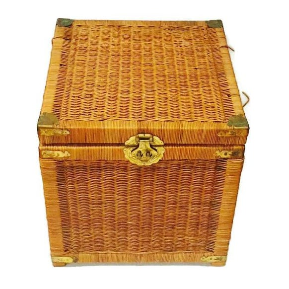 Vintage Rattan Cube End Table/Box - Image 1 of 6