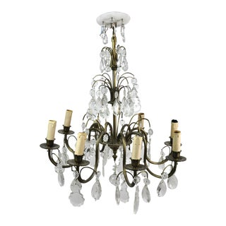 Antique Bronze and Crystal Eight-Light S-Shaped French Chandelier