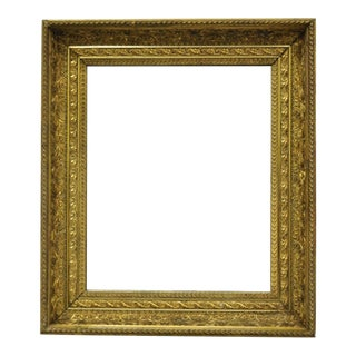 19th Century Gold Gilt & Gesso Wood Frame Wall Mirror With Foliate Design For Sale