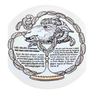 1960s Fornasetti Les Ioles Sausage Improbable Recipe Plate for Fleming Joffe Leather Co. For Sale