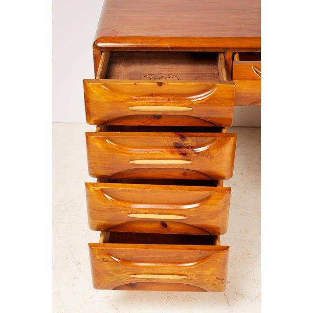 Metal Midcentury Sculptured Pine Desk by the Franklin Shockey Company For Sale - Image 7 of 13