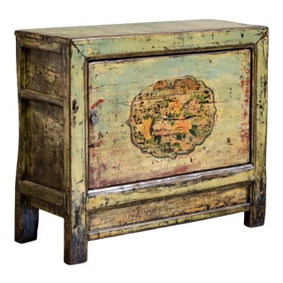 Antique Gray Green Painted Chinese Cabinet For Sale