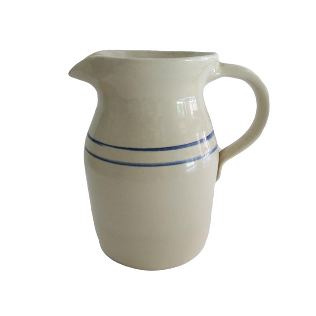 Vintage Marshall Pottery White and Blue Striped Stoneware Crock Pitcher For Sale
