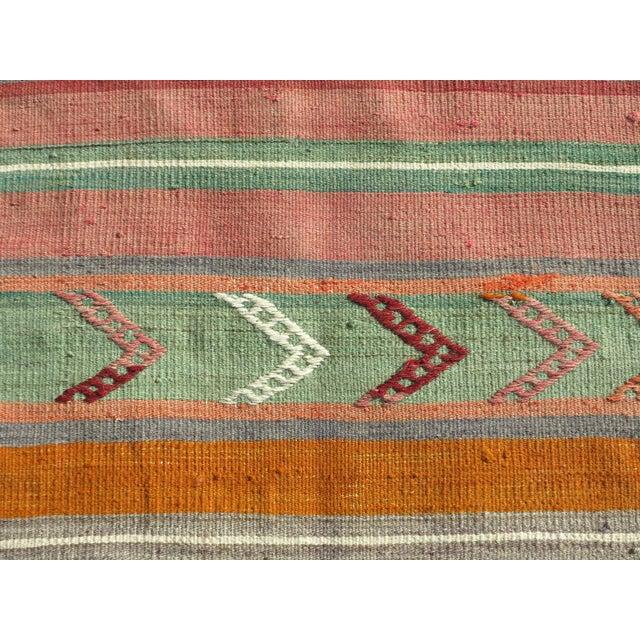 """Orange Vintage Turkish Kilim Runner-2'x10'4"""" For Sale - Image 8 of 13"""