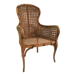 Vintage Carved Wood and Cane Arm Chair