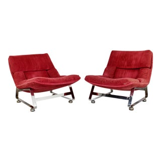 1970s Mid-Century Modern Milo Baughman Red Chrome Lounge Chairs - a Pair