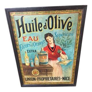 """Vintage Wood Olive Oil Advertising Sign 41"""""""