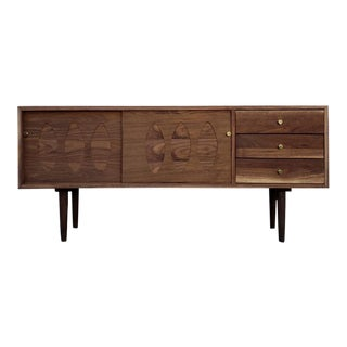 Rustic Modern Handmade Walnut Credenza With Sliding Doors For Sale
