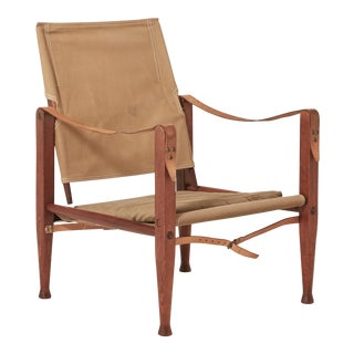 Kaare Klint Safari Chair in Canvas, Made by Rud Rasmussen, Denmark For Sale