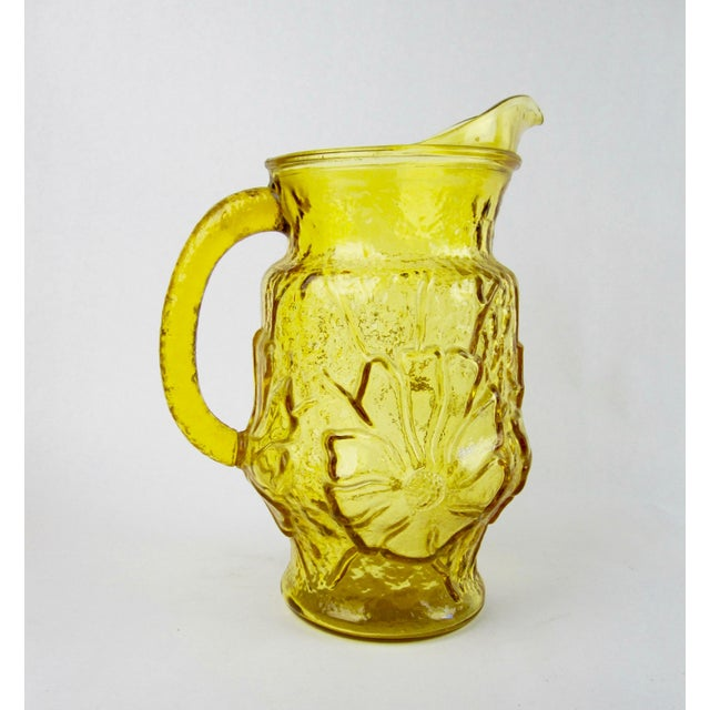 Anchor Hocking 1970s Vintage Yellow Rainflower Anchor Hocking Pitcher For Sale - Image 4 of 6