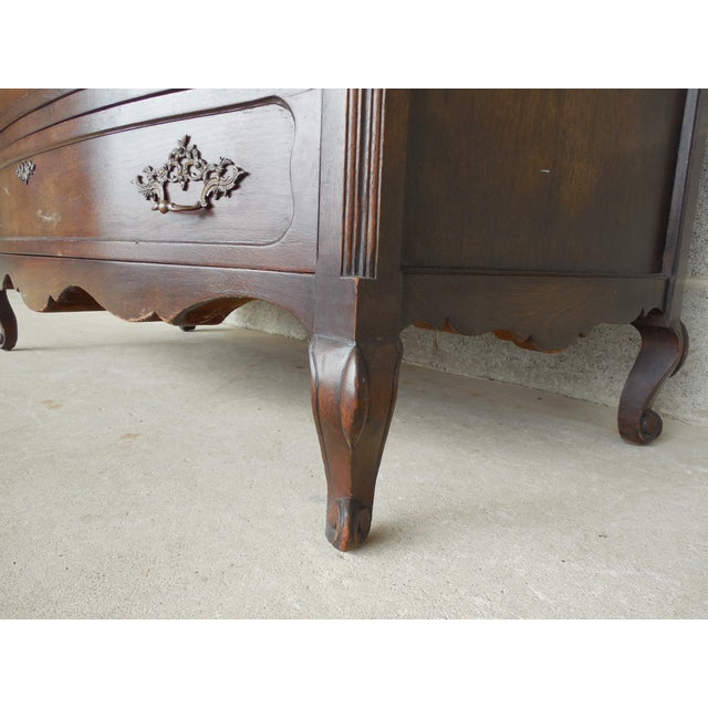 Antique / Vintage Walnut French Louis XV Style 5 Drawer Commode For Sale - Image 9 of 11