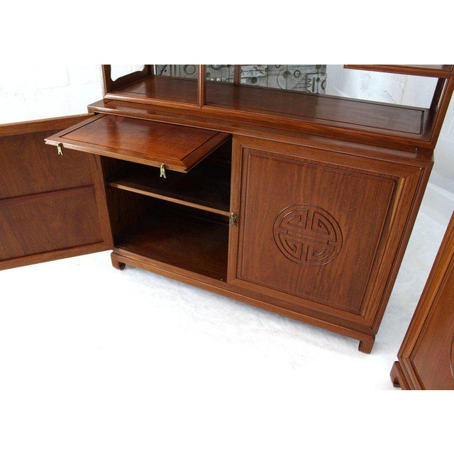 Brass 1990s Asian Solid Teak Étagère/Double Carved Door Cabinets - a Pair For Sale - Image 7 of 14
