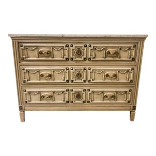 Marble Top Hollywood Regency Chest For Sale