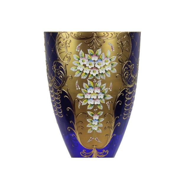 Pasargad N Y Antique Cobalt Blue Cased Art Glass Vase With Enameled Flowers For Sale - Image 4 of 8