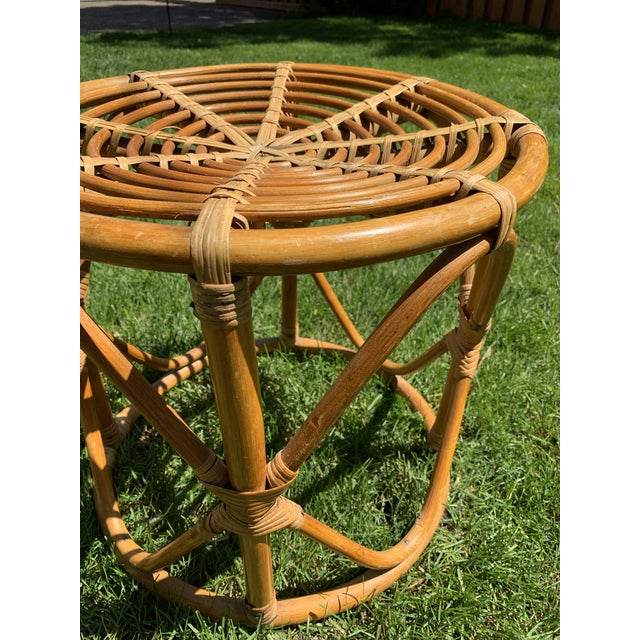 Late 20th Century Vintage Boho Round Rattan & Bamboo Side Table / Plant Stand For Sale - Image 5 of 9