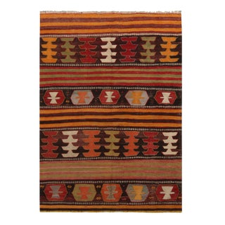 "1940's Vintage Aryon Golden Brown Wool Kilim Rug-3'10'x5'3"" For Sale"