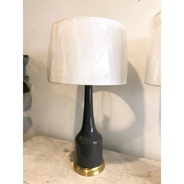 Gray Fox Mill Co. Gray Ceramic Table Lamps with Shades - a Pair For Sale - Image 8 of 9