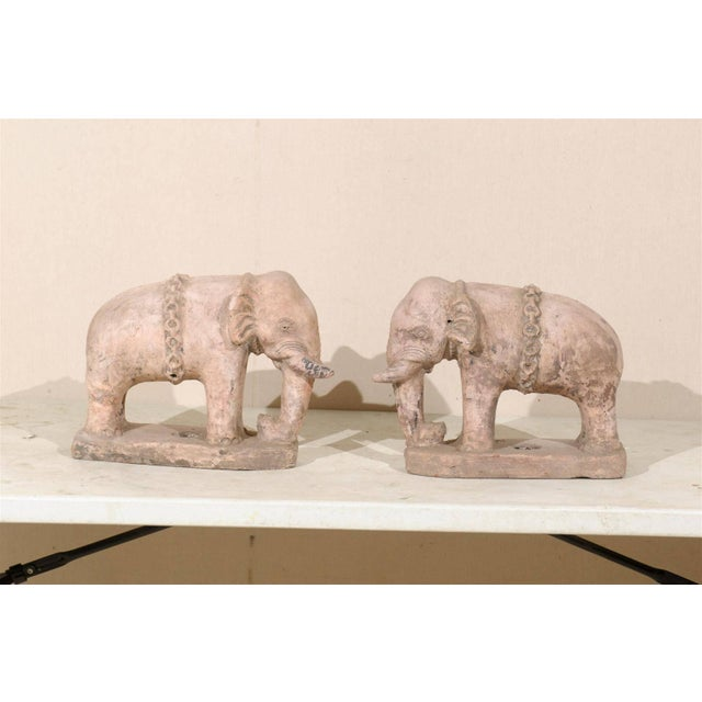 Ceramic Pair of Eclectic 20th Century British Colonial Terracotta Elephants in Pale Pink For Sale - Image 7 of 9