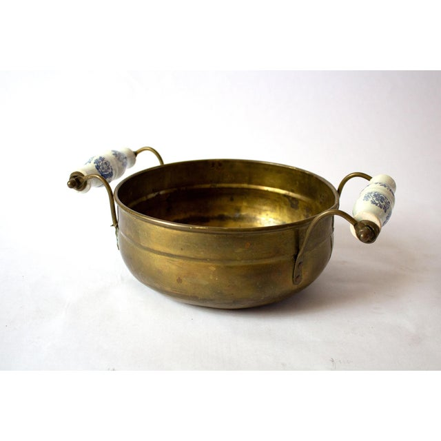 Metal Vintage Mid Century Brass Bowl & Ceramic Handles For Sale - Image 7 of 7