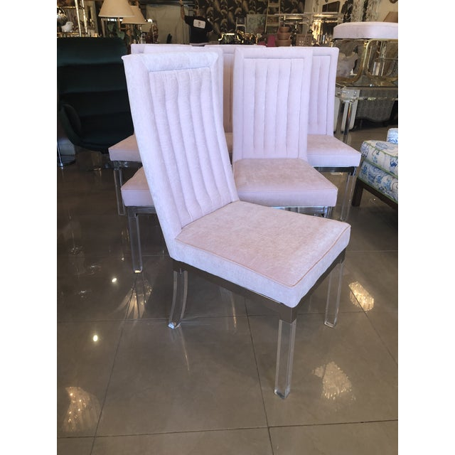 Vintage Charles Hollis Jones CHJ Lucite and chrome side dining chairs. These have been newly upholstered in a blush pink...
