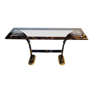 1980s Art Deco Karl Springer Tesselated Horn Brass & Glass Deco Revival Console