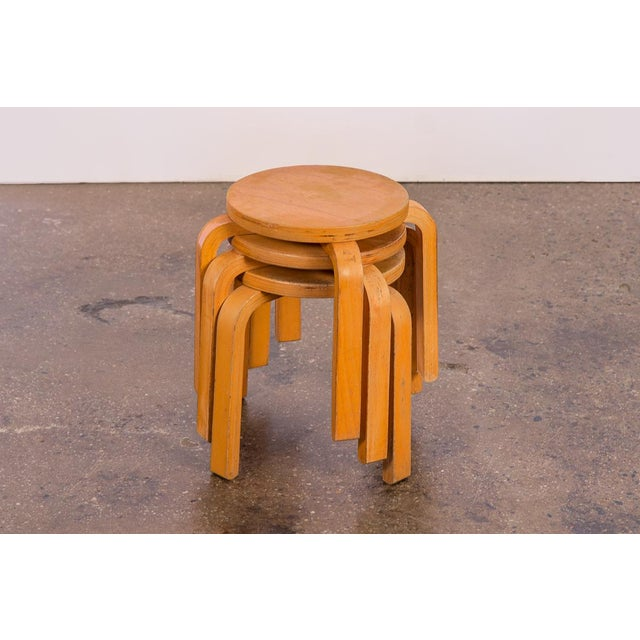 Set of 3 vintage small stacking stools in the style of Alvar Aalto. Children or plant friendly! Features L-shaped, steam...