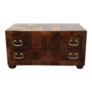 Mid Century Modern Sarreid Rare Burl Wood Patchwork 2-Drawer Low Chest, Table For Sale